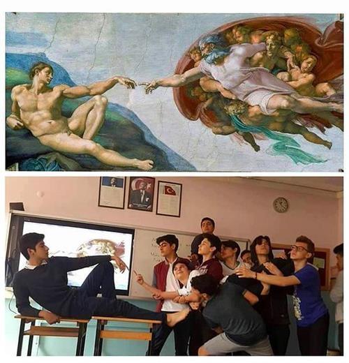 Ünlü tabloları canlandıran liseliler sosyal medyayı salladı! 1