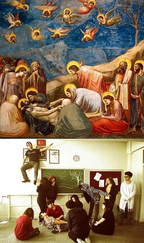 Ünlü tabloları canlandıran liseliler sosyal medyayı salladı! 14