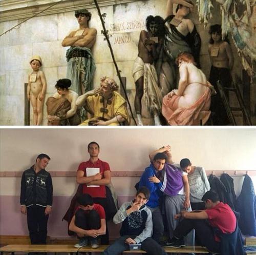 Ünlü tabloları canlandıran liseliler sosyal medyayı salladı! galerisi resim 17