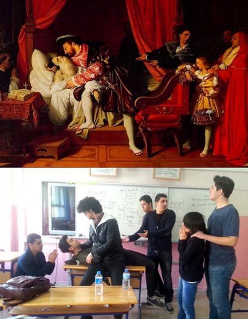 Ünlü tabloları canlandıran liseliler sosyal medyayı salladı! 18