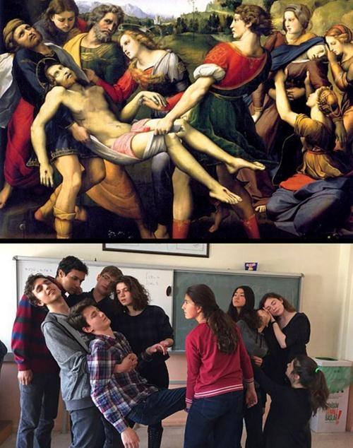 Ünlü tabloları canlandıran liseliler sosyal medyayı salladı! 5