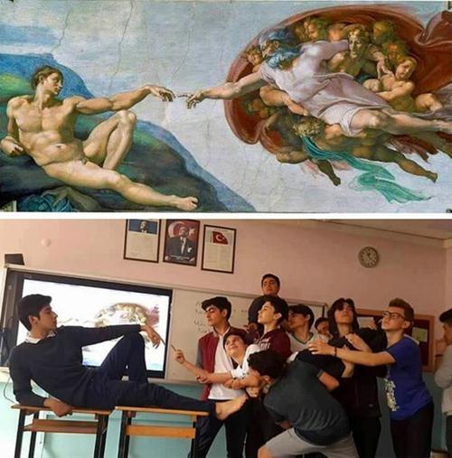 Ünlü tabloları canlandıran liseliler sosyal medyayı salladı! 7