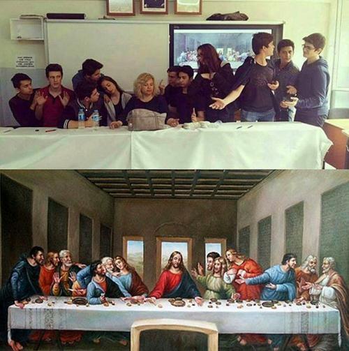 Ünlü tabloları canlandıran liseliler sosyal medyayı salladı! 9