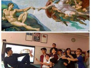 Ünlü tabloları canlandıran liseliler sosyal medyayı salladı!