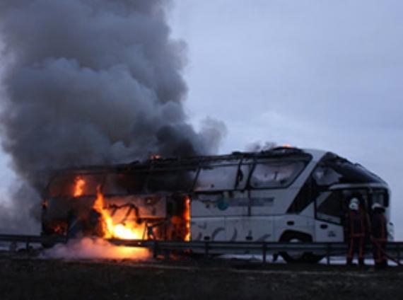 Ankara yolunda otobüs yangını
