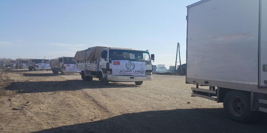 DEAŞ'ten geri alınan El Bab'a ilk yardım konvoyu ulaştı