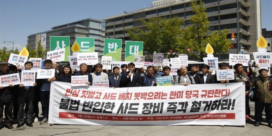 Güney Kore'de THAAD protestosu