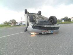 Yayaya çarpan araç takla attı!