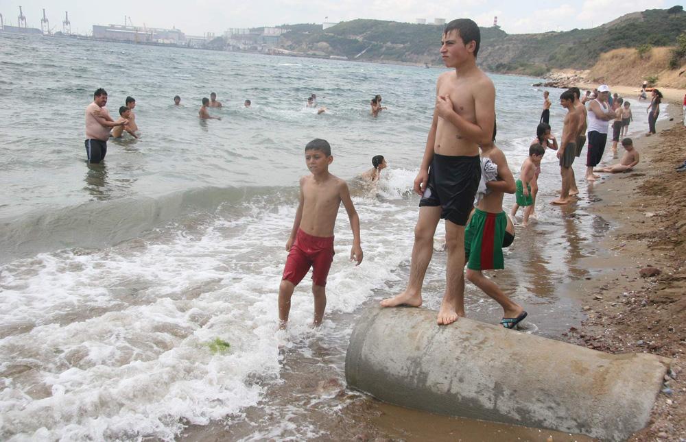 Körfez'in kirli sularında serinliyorlar!