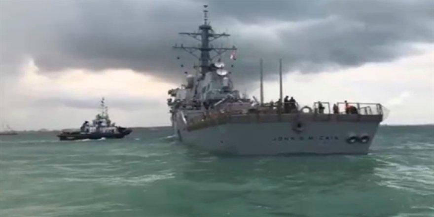 Savaş gemisi ile petrol tankeri çarpıştı
