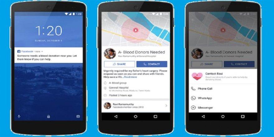 Facebook'tan kan bağışı için yeni sistem