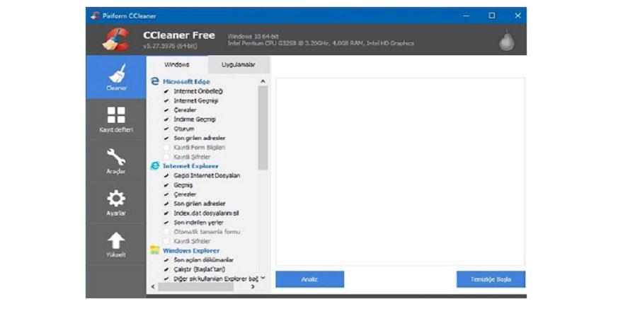 CCleaner Sistem Bakım Temizleme