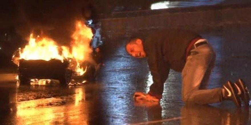 İstanbul'un göbeğinde cipini yaktı, hızını alamadı..