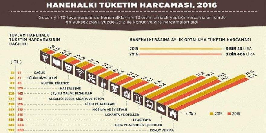 Hanehalkı Tüketim Harcaması 2016 Yılı Verileri Açıklandı