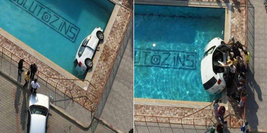 Sitenin Havuzuna Otomobil Düştü