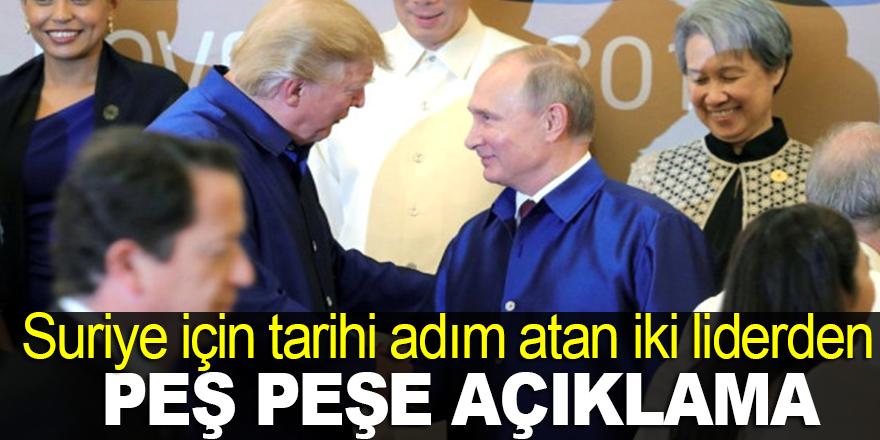 Putin ve Trump'tan Suriye açıklaması