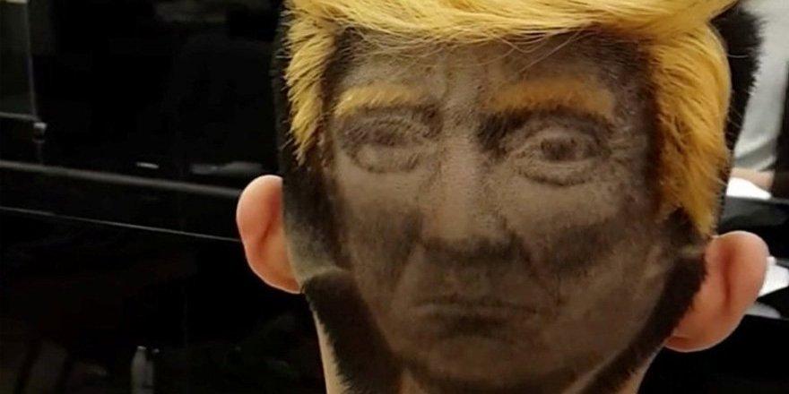 Donald Trump'ı saçına kazıttı