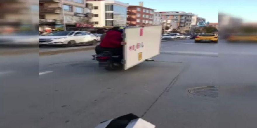 Motosikletle akıl almaz taşıma