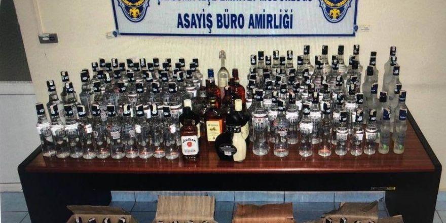Zonguldak'ta 129 şişe sahte içki ele geçirildi
