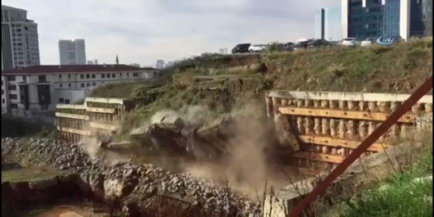 Ataşehir'de istinat duvarı böyle çöktü