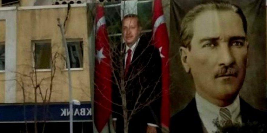 Erdoğan'ın posterini indiren şahıs gözaltına alındı !