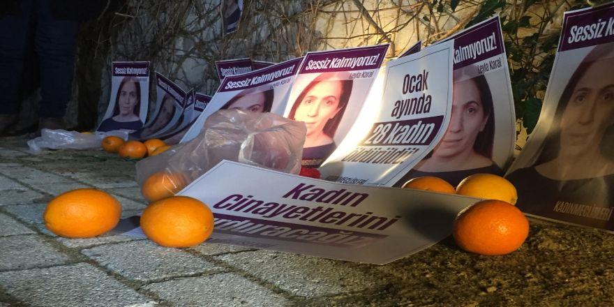 Kadın cinayetlerine portakallı protesto