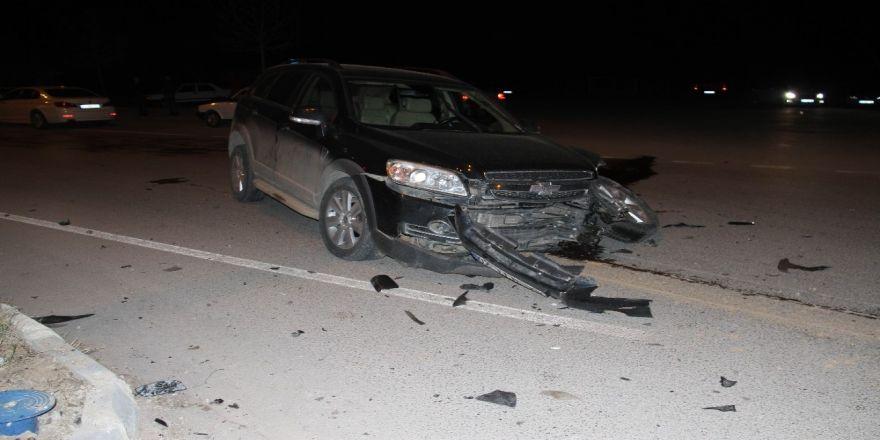 Cip ile otomobilin çarpıştığı kaza güvenlik kamerasında