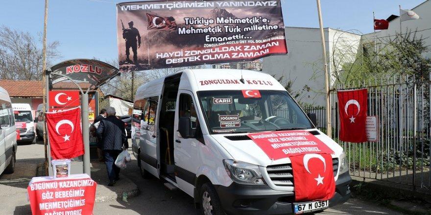 Dolmuş şoförlerinden Mehmetçiğe destek