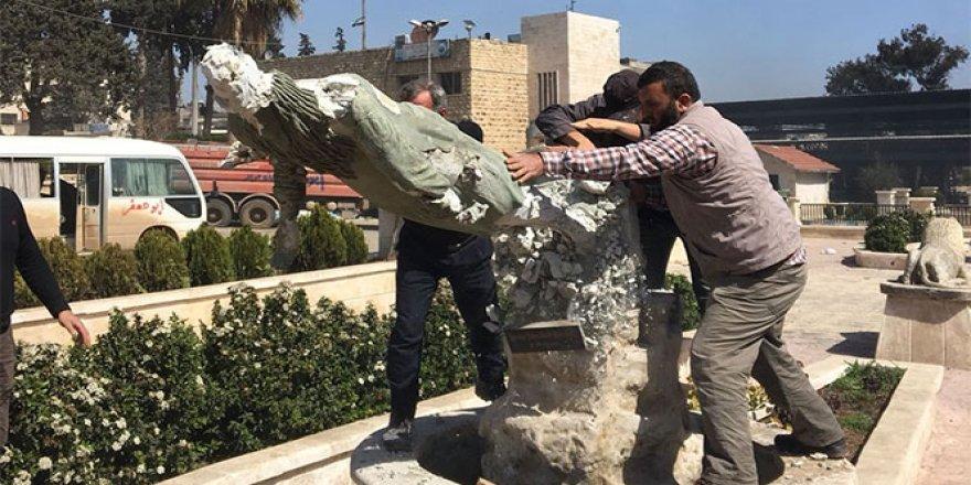 Afrin'de Kawa heykelleri bir bir yıkılıyor
