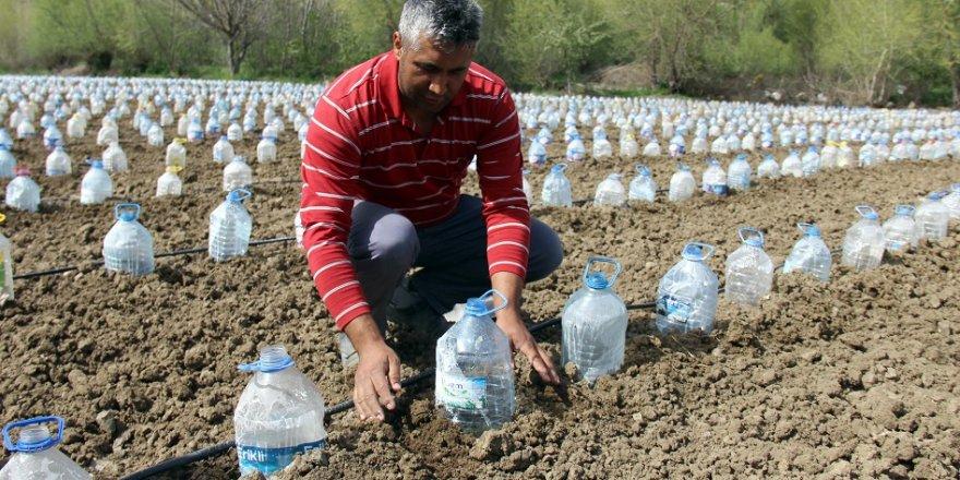 Hurdacıdan aldığı 3 bin pet şişeyle sera yaptı