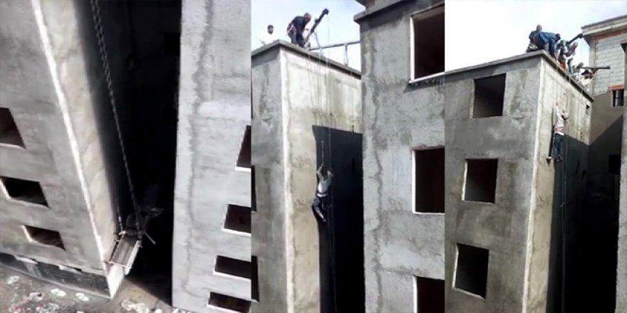 İskele yere düştü, işçi havada kaldı