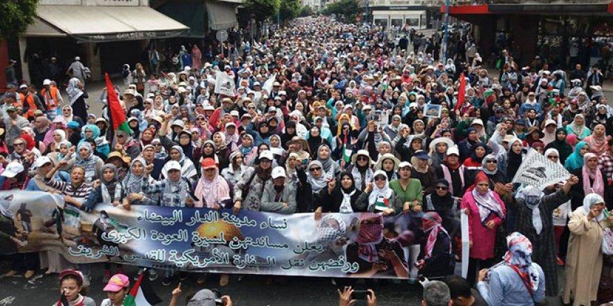 Fas'tan Filistin'e destek gösterisi