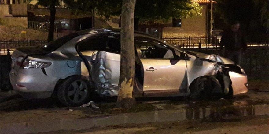 Ağaca çarparak duran otomobil, çaya uçmaktan kurtuldu