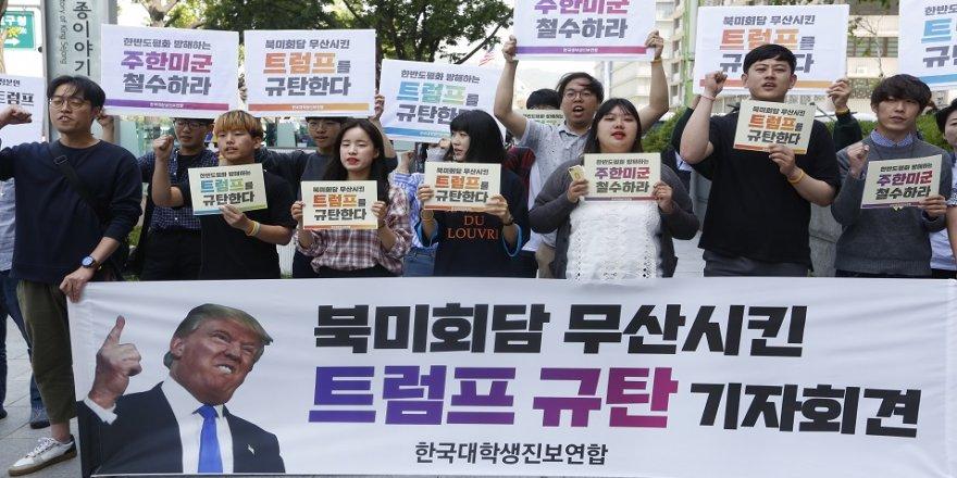 Koreliler, Trump'ın kararını protesto etti