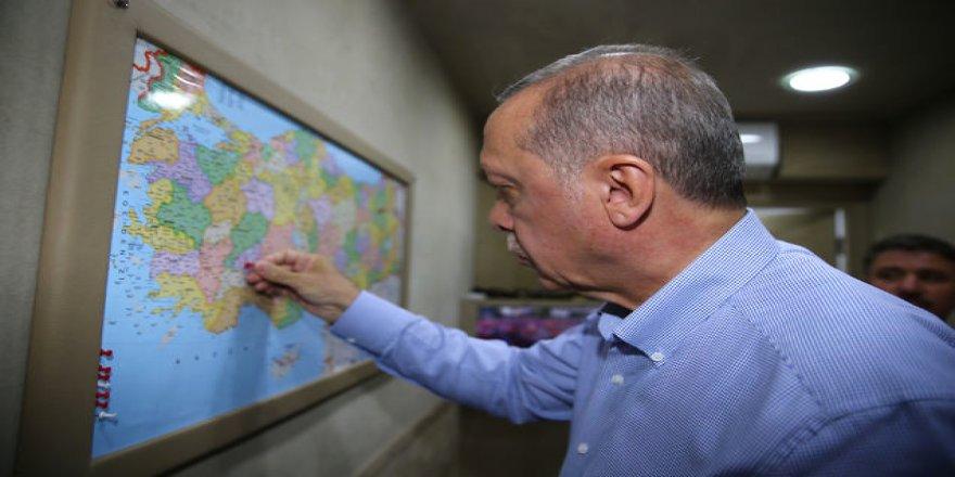 Erdoğan'ın miting TIR'ında dikkat çeken harita