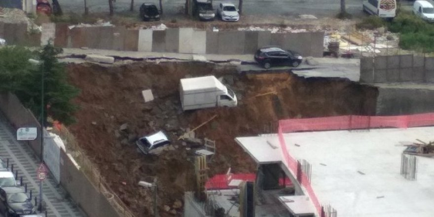 İstinat duvarı çöktü araçlar içine düştü