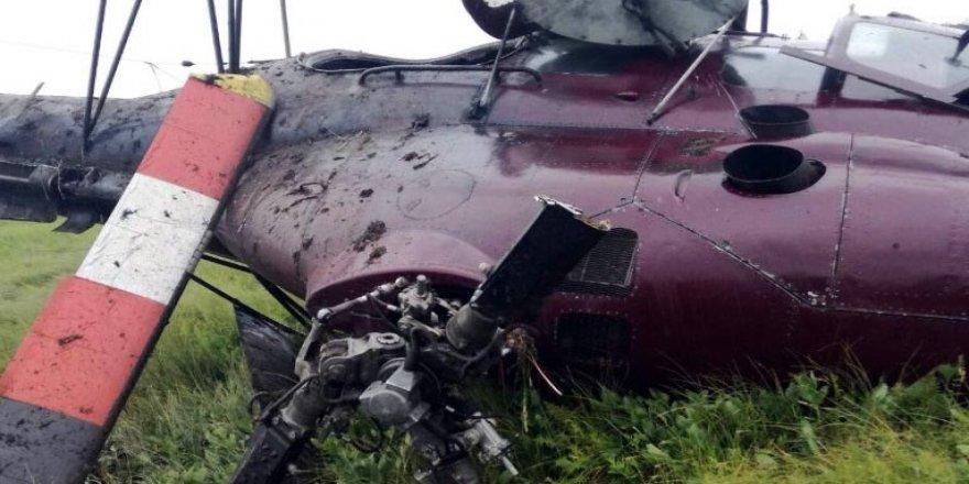 Düşen helikopterin pilotu sağ kurtuldu