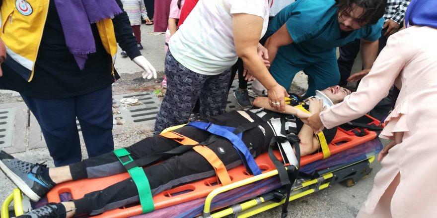 Gebze de otomobilin çarptığı bisikletli genç yaralandı