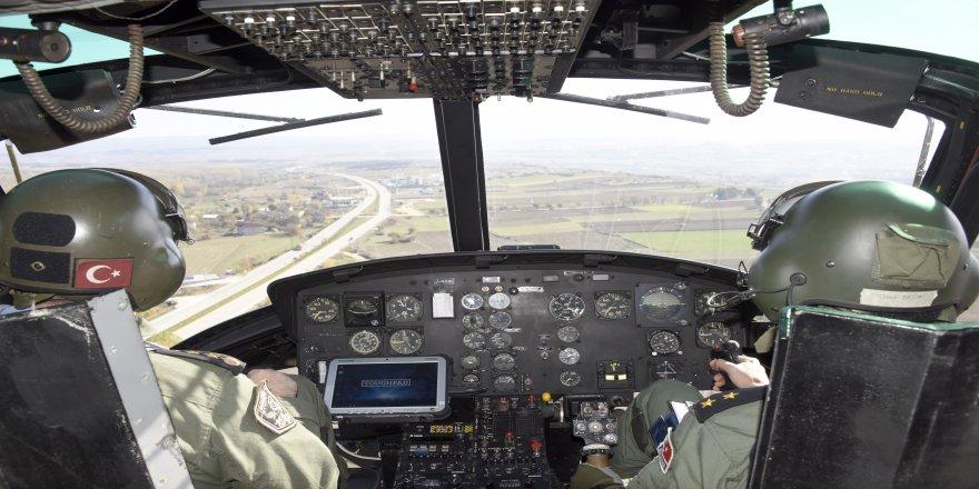 Helikopter destekli uygulamada 35 araca 13 bin lira ceza kesildi