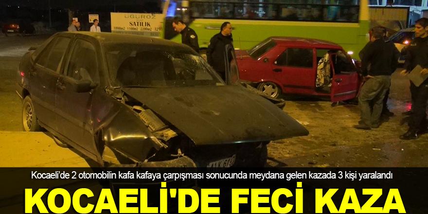 Kocaeli'de iki otomobil kafa kafaya çarpıştı