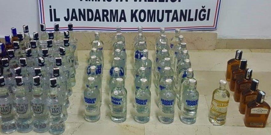 97 şişe kaçak içki ele geçirildi