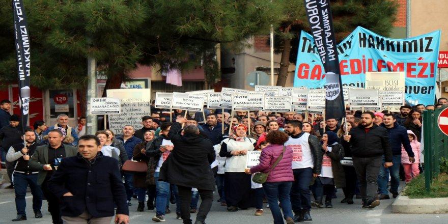İşten atılan işçilerden halaylı protesto