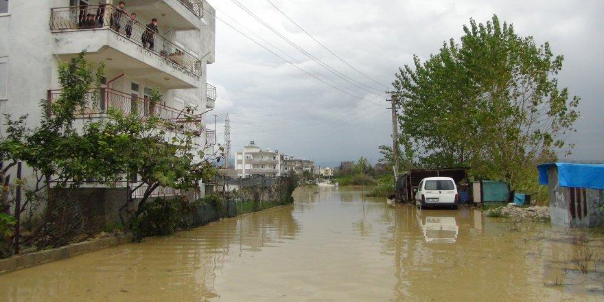 Yağmur sebebiyle dere ve kanallar taştı