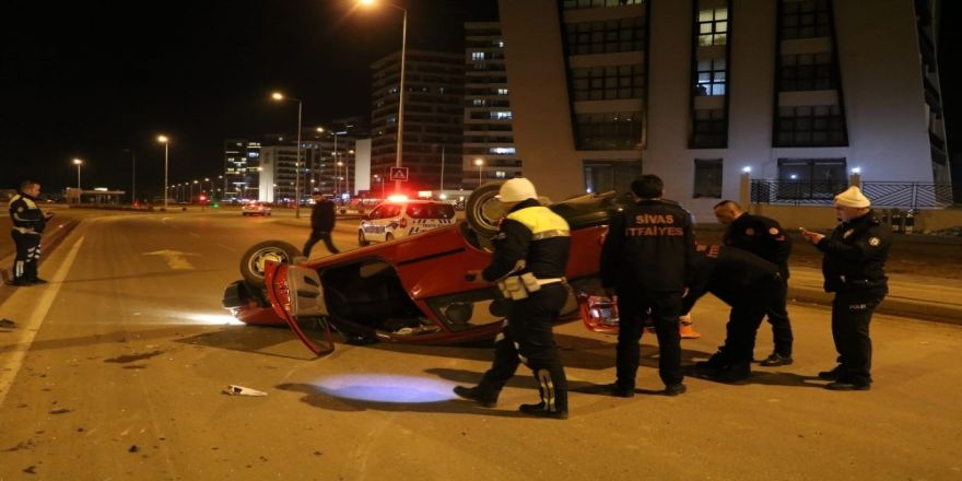 Takla atan araçtan hafif yaralı çıktı