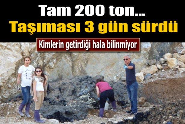 Taş ocağına gömülü 200 ton atık İzaydaş'a götürüldü