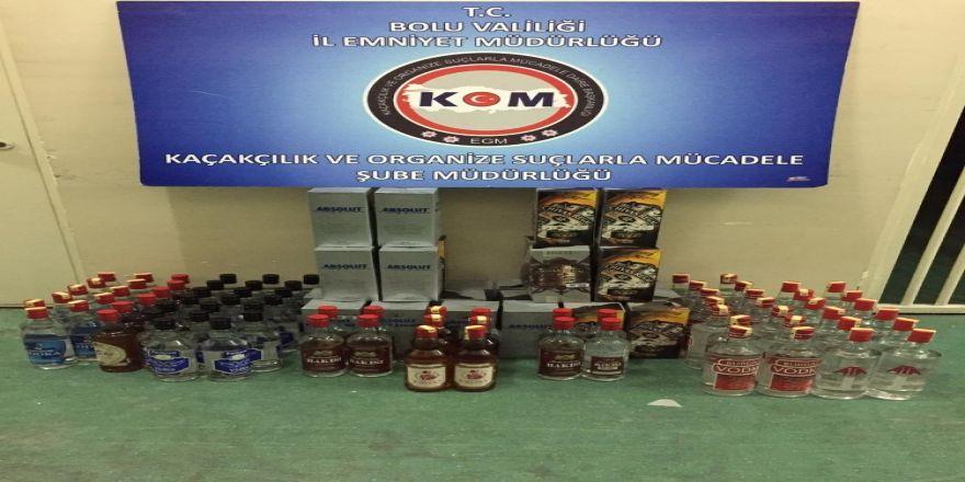 Bolu'da, kaçak içki bulunduran büfe sahibi gözaltına alındı