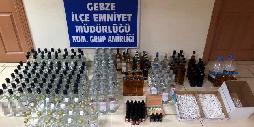 Kocaeli'de kaçak sigara ve içki operasyonu