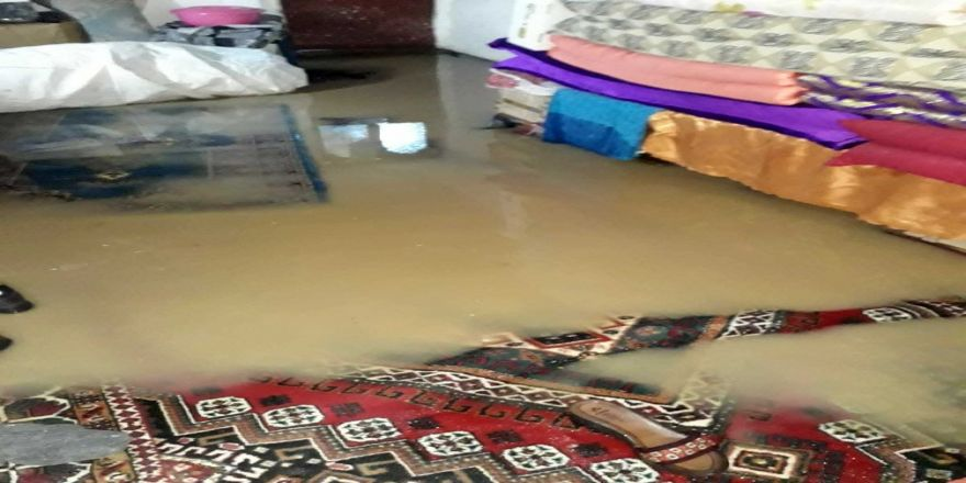 Sağanak yağış sonrası evleri su bastı