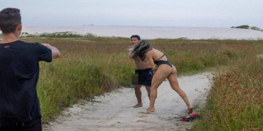 Bikini çekiminde tacizci şoku