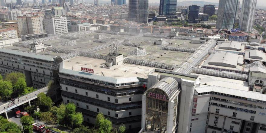 Perpa Ticaret Merkezindeki Yangın Havadan Görüntülendi